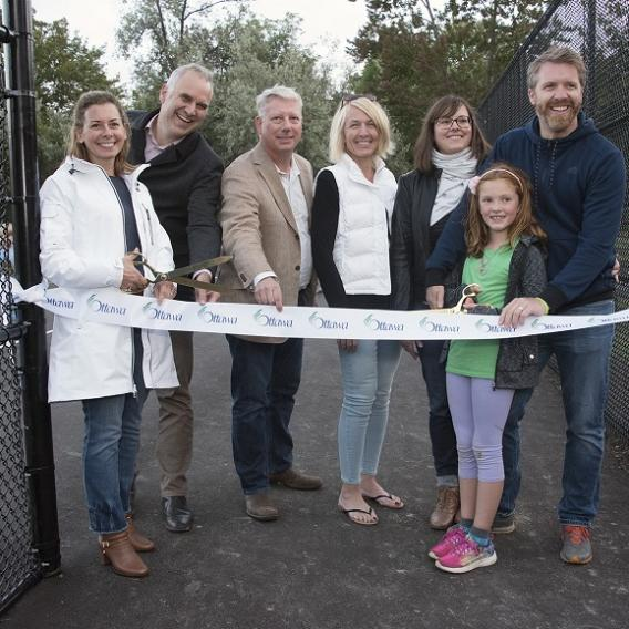 Ribbon cutting ceremony at Manor Park tennis courts